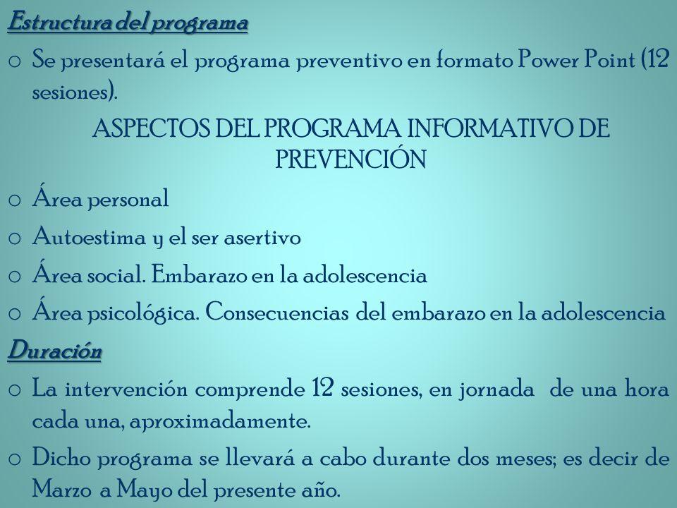 Estructura del programa o Se presentará el programa preventivo en formato Power Point (12 sesiones). ASPECTOS DEL PROGRAMA INFORMATIVO DE PREVENCIÓN o