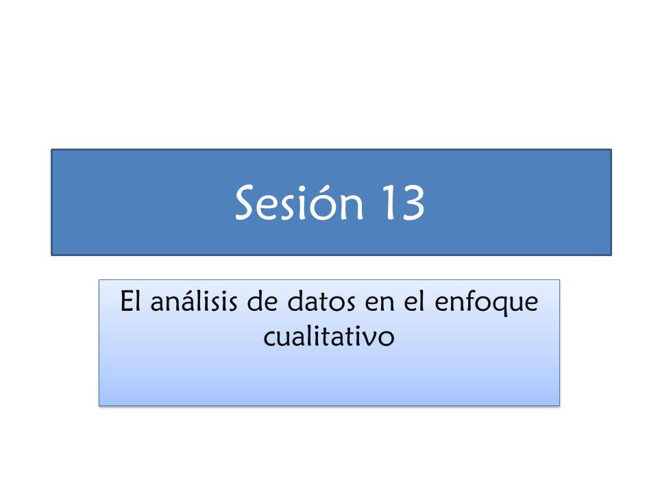 Sesión 13 El análisis de datos en el enfoque cualitativo