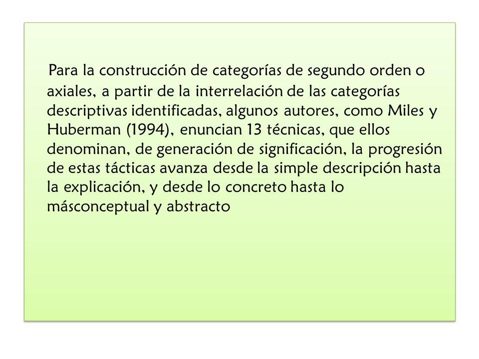 Para la construcción de categorías de segundo orden o axiales, a partir de la interrelación de las categorías descriptivas identificadas, algunos auto
