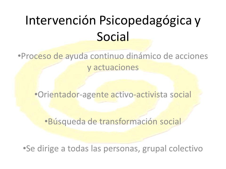 Intervención Psicopedagógica y Social Proceso de ayuda continuo dinámico de acciones y actuaciones Orientador-agente activo-activista social Búsqueda de transformación social Se dirige a todas las personas, grupal colectivo