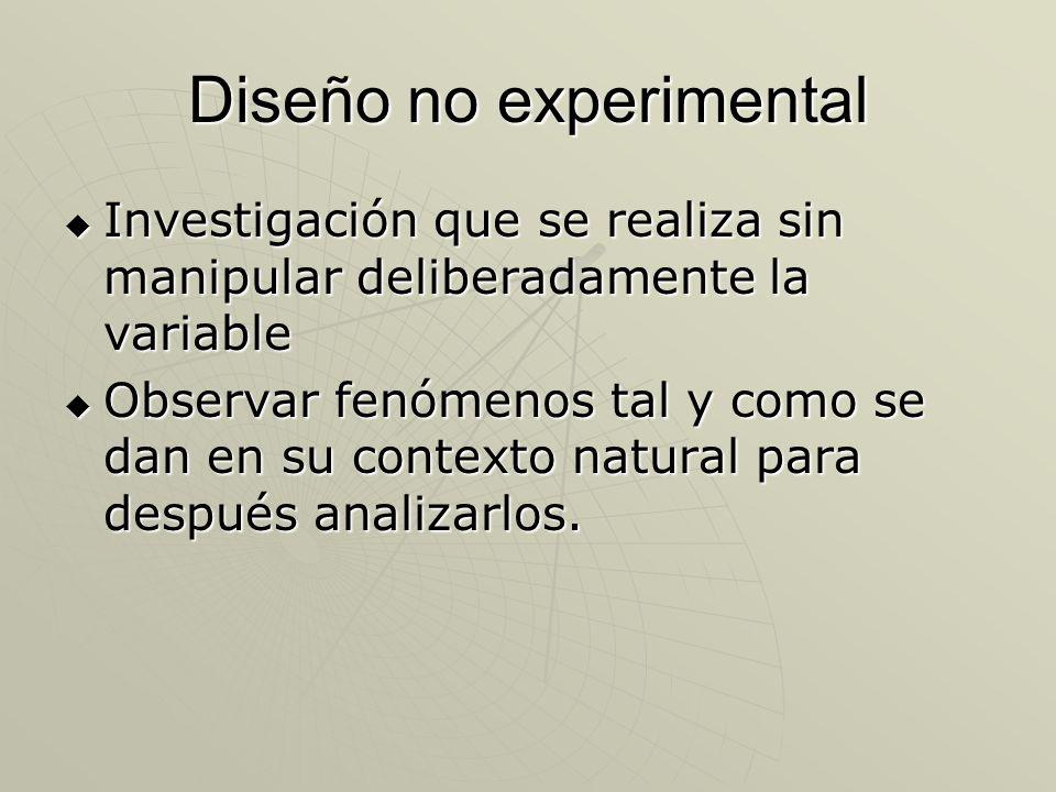 Diseño no experimental Investigación que se realiza sin manipular deliberadamente la variable Investigación que se realiza sin manipular deliberadamen