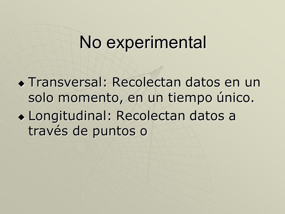 No experimental Transversal: Recolectan datos en un solo momento, en un tiempo único. Transversal: Recolectan datos en un solo momento, en un tiempo ú