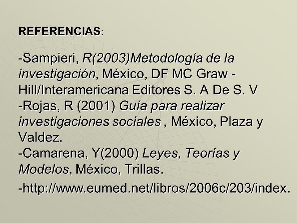 REFERENCIAS : -Sampieri, R(2003)Metodología de la investigación, México, DF MC Graw - Hill/Interamericana Editores S. A De S. V -Rojas, R (2001) Guía