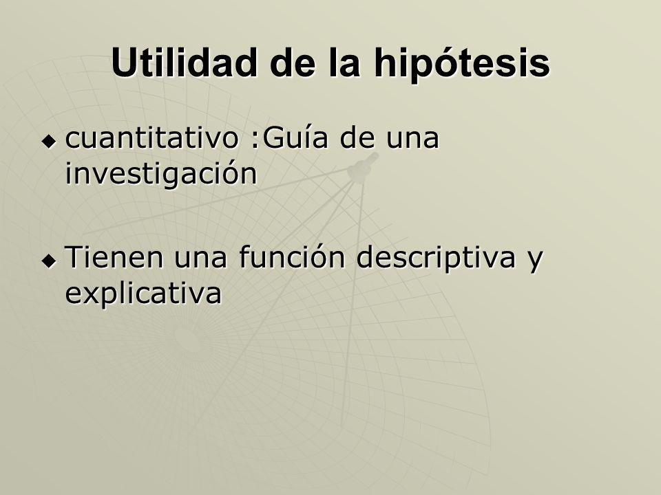 Utilidad de la hipótesis cuantitativo :Guía de una investigación cuantitativo :Guía de una investigación Tienen una función descriptiva y explicativa