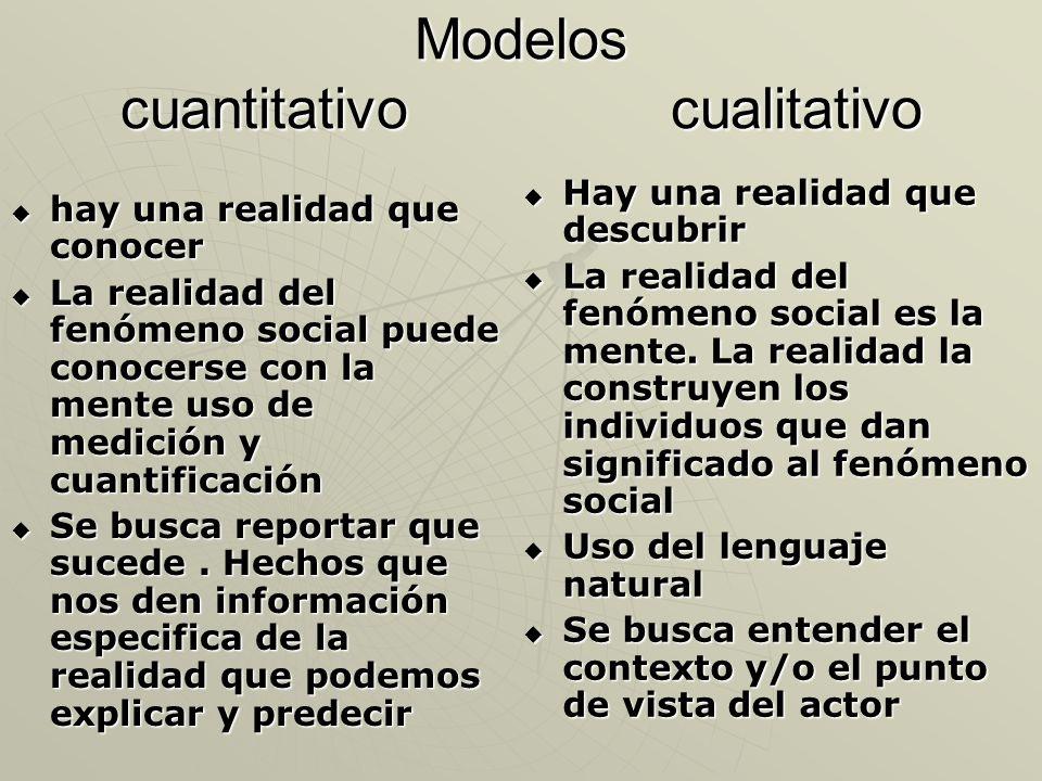 Modelos cuantitativo cualitativo hay una realidad que conocer hay una realidad que conocer La realidad del fenómeno social puede conocerse con la ment