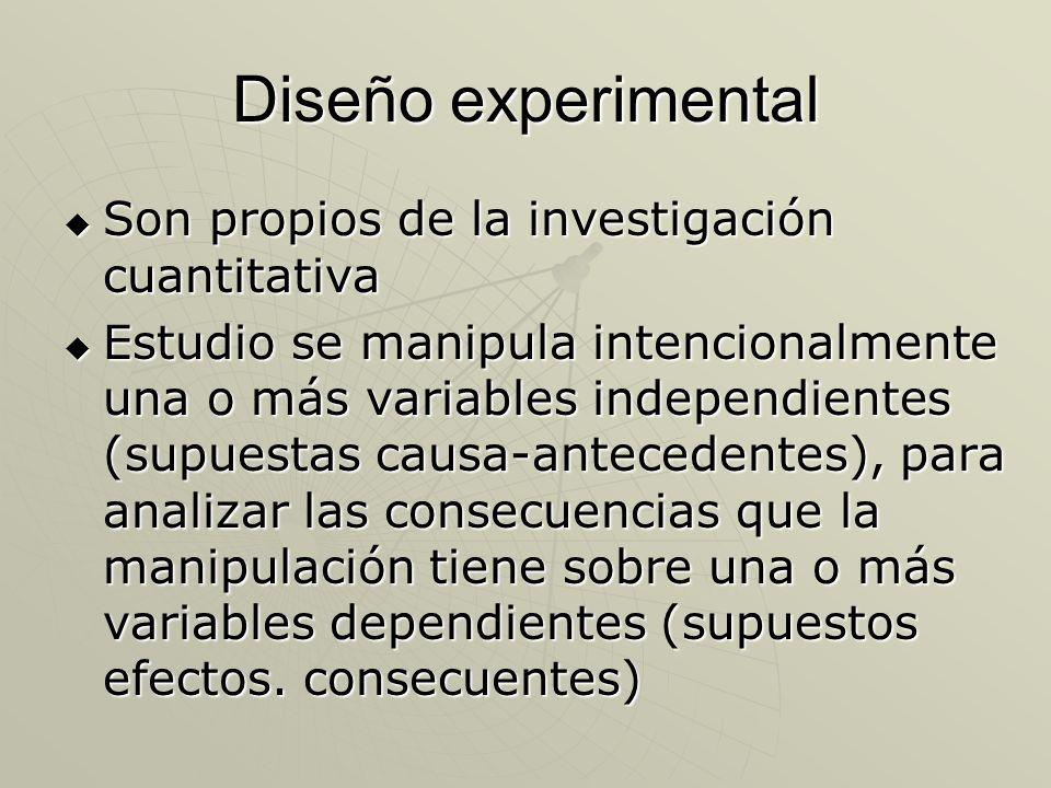 Diseño experimental Son propios de la investigación cuantitativa Son propios de la investigación cuantitativa Estudio se manipula intencionalmente una