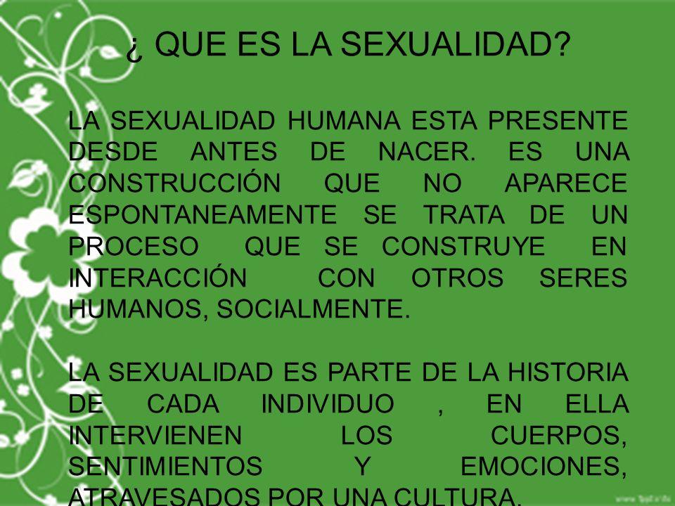 ¿ QUE ES LA SEXUALIDAD? LA SEXUALIDAD HUMANA ESTA PRESENTE DESDE ANTES DE NACER. ES UNA CONSTRUCCIÓN QUE NO APARECE ESPONTANEAMENTE SE TRATA DE UN PRO