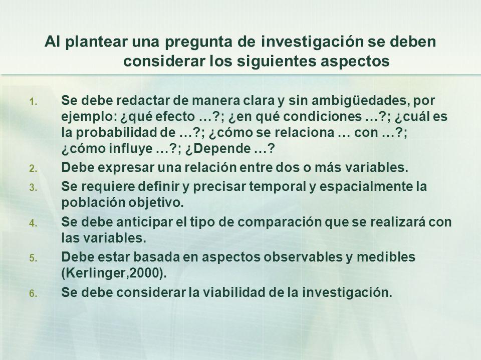 Al plantear una pregunta de investigación se deben considerar los siguientes aspectos 1.