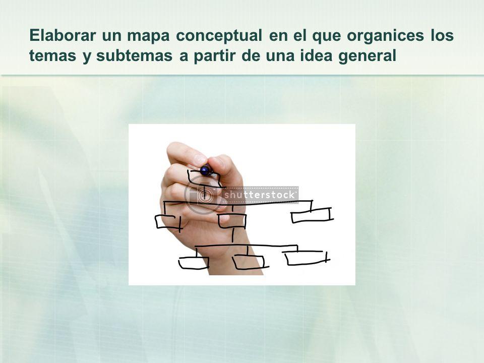Elaborar un mapa conceptual en el que organices los temas y subtemas a partir de una idea general