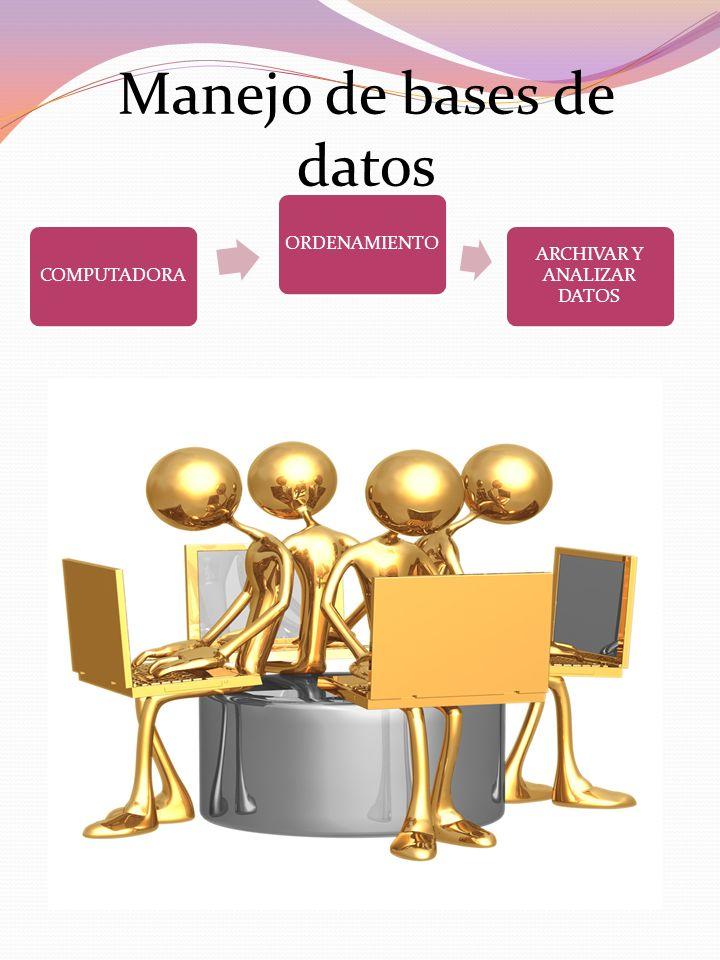 Manejo de bases de datos COMPUTADORAORDENAMIENTO ARCHIVAR Y ANALIZAR DATOS