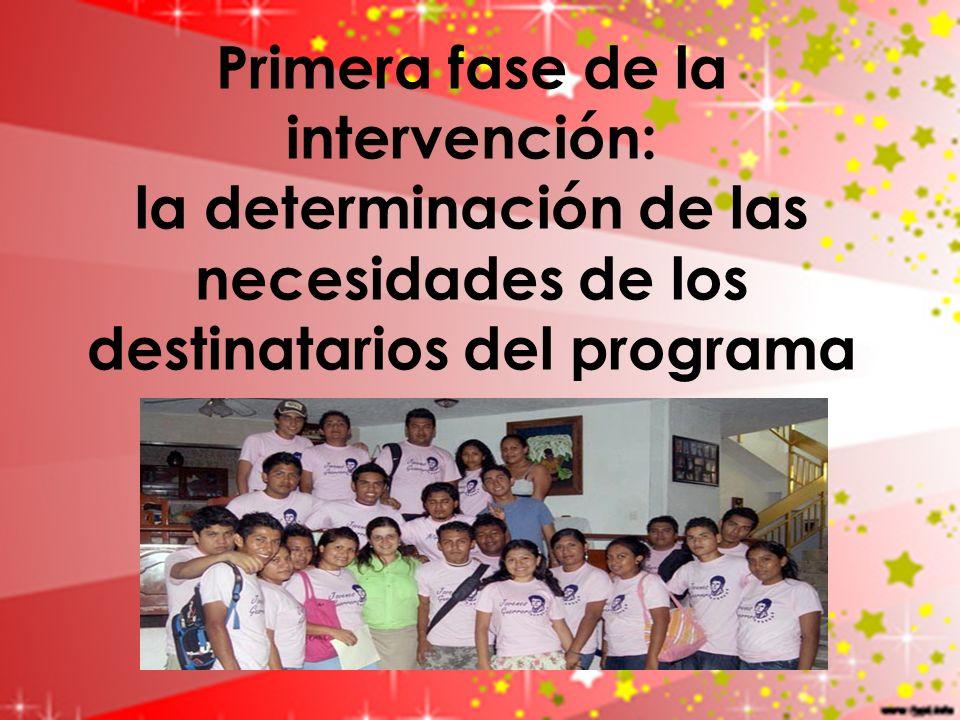 Primera fase de la intervención: la determinación de las necesidades de los destinatarios del programa