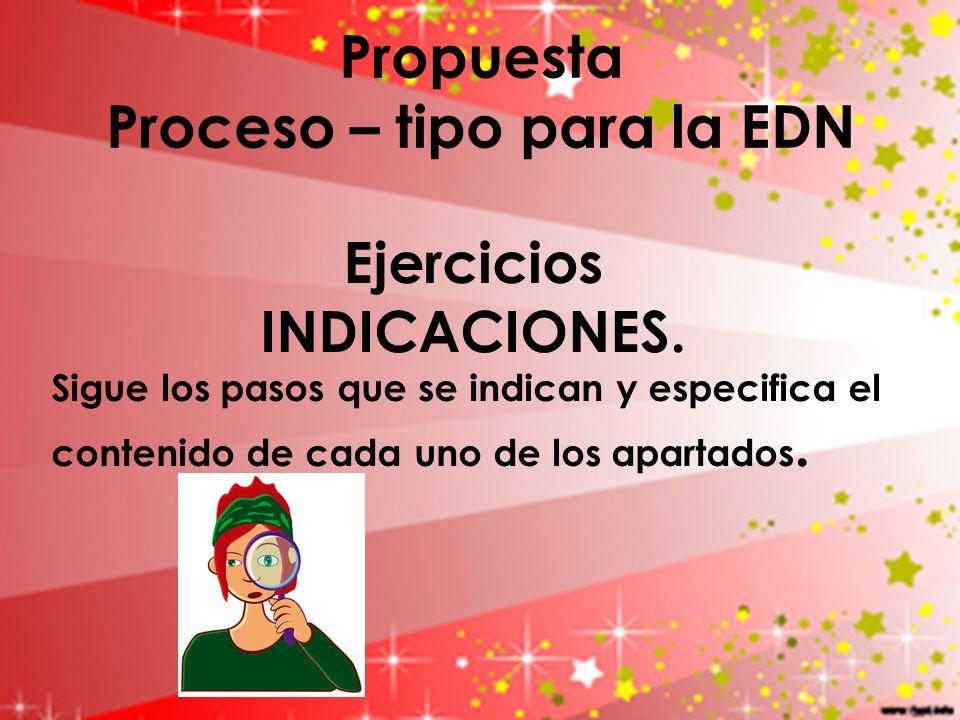 Propuesta Proceso – tipo para la EDN Ejercicios INDICACIONES. Sigue los pasos que se indican y especifica el contenido de cada uno de los apartados.