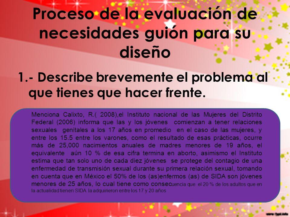 Proceso de la evaluación de necesidades guión para su diseño 1.- Describe brevemente el problema al que tienes que hacer frente. Menciona Calixto, R.(