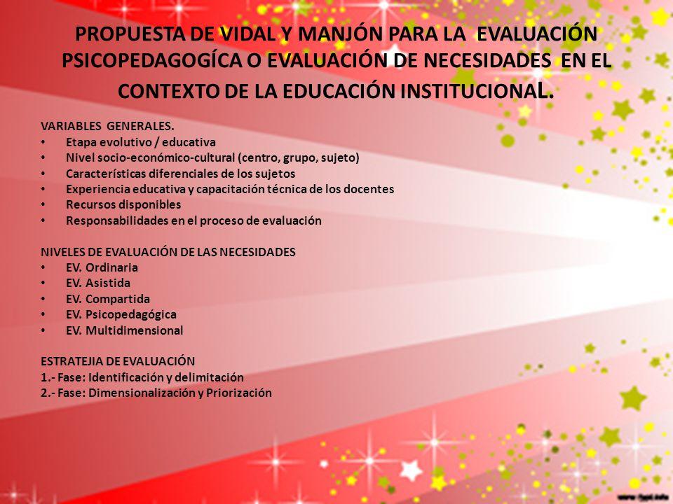 PROPUESTA DE VIDAL Y MANJÓN PARA LA EVALUACIÓN PSICOPEDAGOGÍCA O EVALUACIÓN DE NECESIDADES EN EL CONTEXTO DE LA EDUCACIÓN INSTITUCIONA L. VARIABLES GE