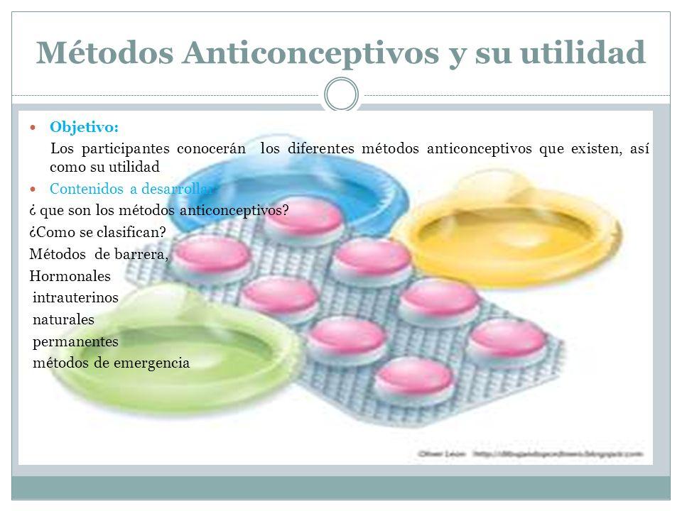 Métodos Anticonceptivos y su utilidad Objetivo: Los participantes conocerán los diferentes métodos anticonceptivos que existen, así como su utilidad C