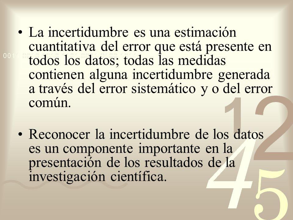 La incertidumbre es una estimación cuantitativa del error que está presente en todos los datos; todas las medidas contienen alguna incertidumbre gener