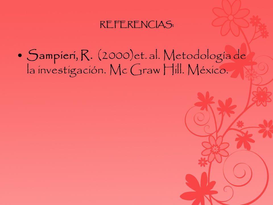 REFERENCIAS: Sampieri, R. (2000)et. al. Metodología de la investigación. Mc Graw Hill. México.