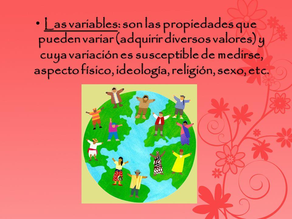 Las variables: son las propiedades que pueden variar (adquirir diversos valores) y cuya variación es susceptible de medirse, aspecto físico, ideología