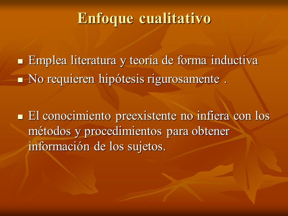 Enfoque cualitativo Emplea literatura y teoria de forma inductiva Emplea literatura y teoria de forma inductiva No requieren hipótesis rigurosamente.