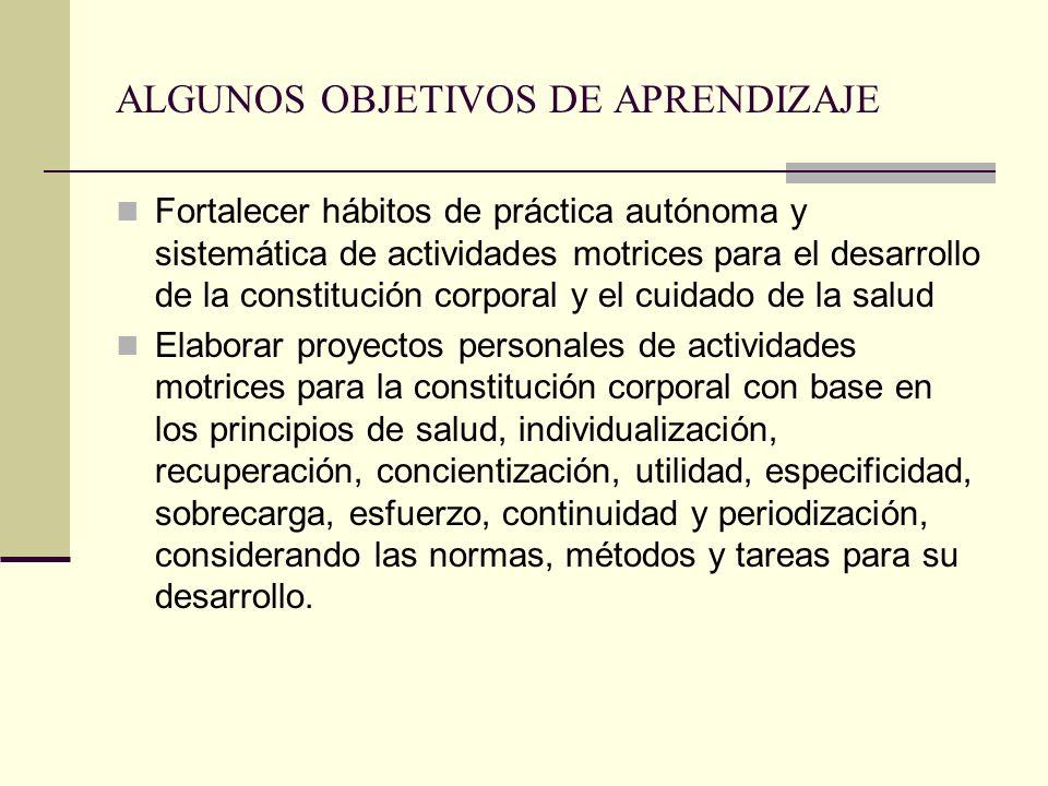 ALGUNOS OBJETIVOS DE APRENDIZAJE Fortalecer hábitos de práctica autónoma y sistemática de actividades motrices para el desarrollo de la constitución c