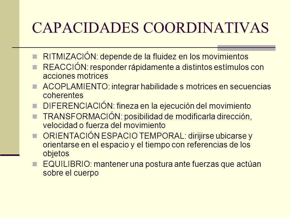 CAPACIDADES COORDINATIVAS RITMIZACIÓN: depende de la fluidez en los movimientos REACCIÓN: responder rápidamente a distintos estímulos con acciones mot