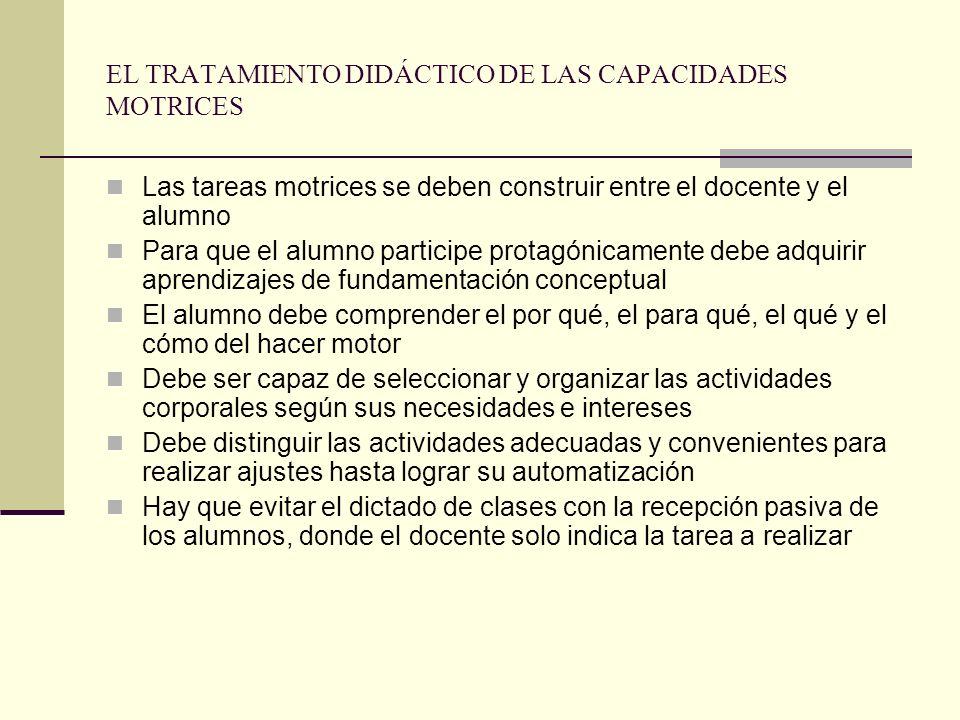 EL TRATAMIENTO DIDÁCTICO DE LAS CAPACIDADES MOTRICES Las tareas motrices se deben construir entre el docente y el alumno Para que el alumno participe