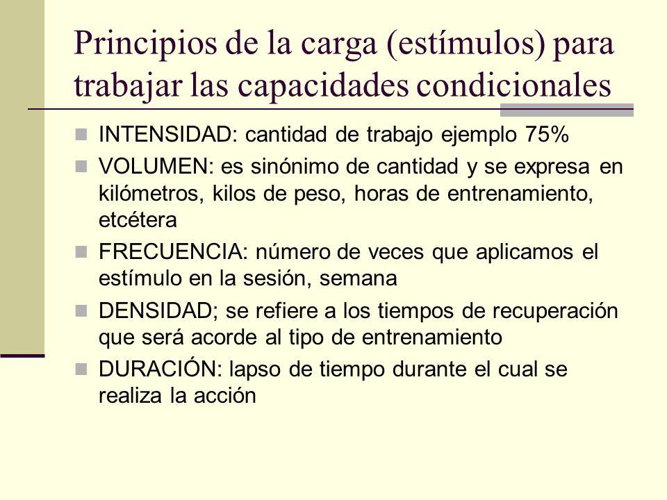 Principios de la carga (estímulos) para trabajar las capacidades condicionales INTENSIDAD: cantidad de trabajo ejemplo 75% VOLUMEN: es sinónimo de can