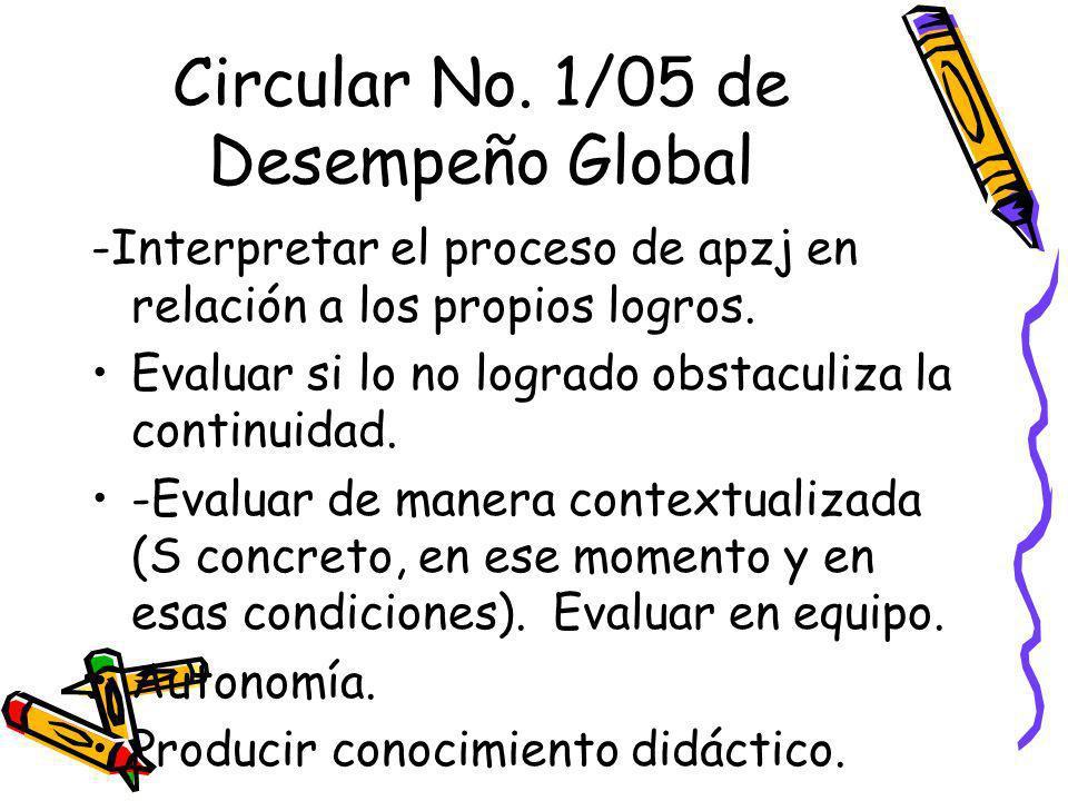 Circular No. 1/05 de Desempeño Global -Interpretar el proceso de apzj en relación a los propios logros. Evaluar si lo no logrado obstaculiza la contin
