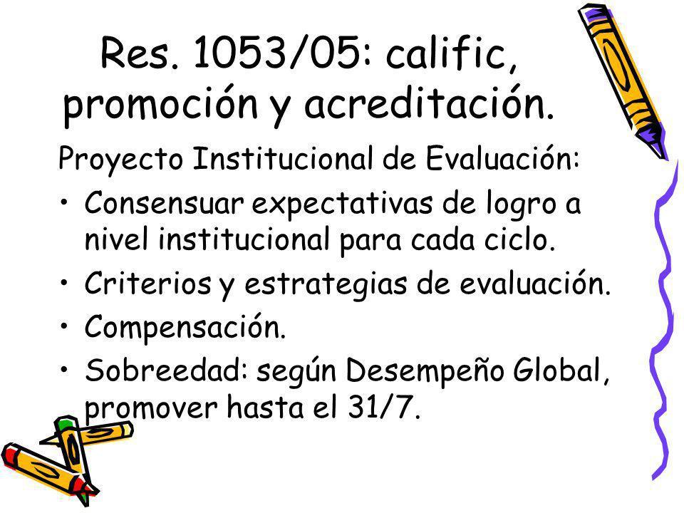 Res. 1053/05: calific, promoción y acreditación. Proyecto Institucional de Evaluación: Consensuar expectativas de logro a nivel institucional para cad