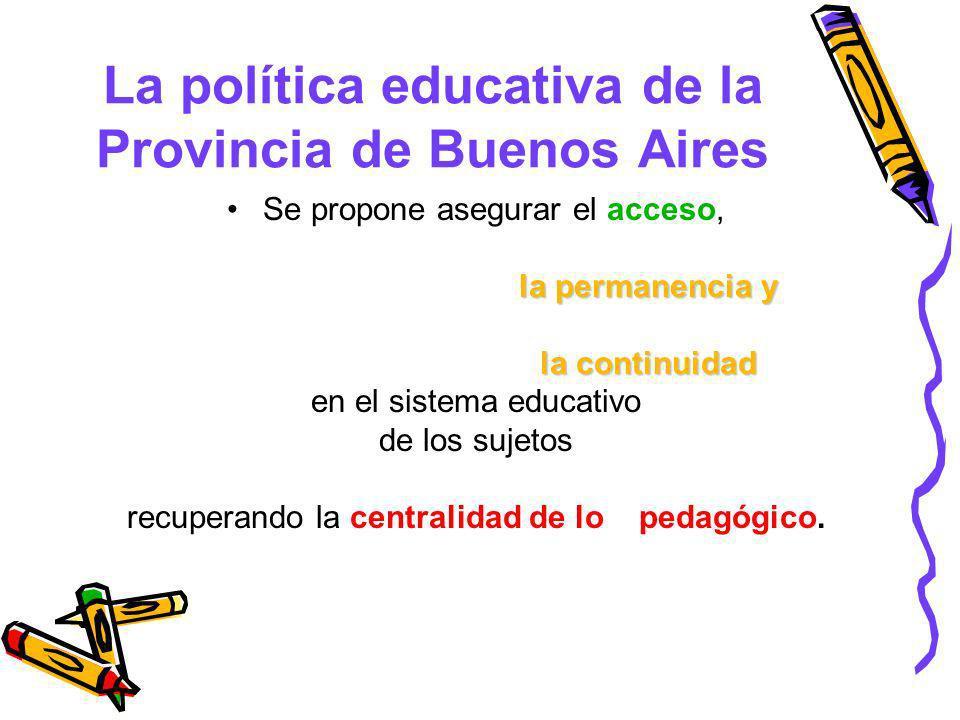 La política educativa de la Provincia de Buenos Aires Se propone asegurar el acceso, la permanencia y la permanencia y la continuidad la continuidad e