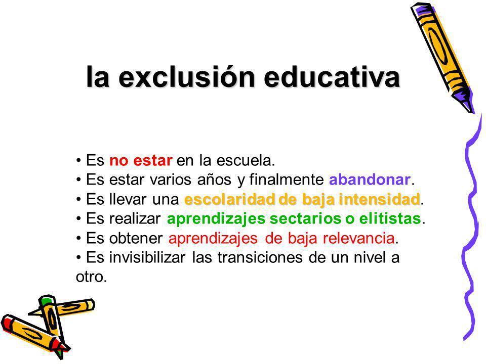 la exclusión educativa Es no estar en la escuela. Es estar varios años y finalmente abandonar. escolaridad de baja intensidad Es llevar una escolarida