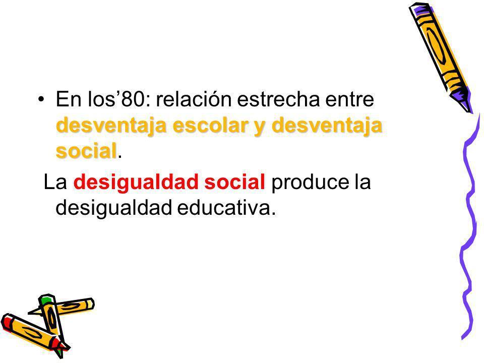 desventaja escolar y desventaja socialEn los80: relación estrecha entre desventaja escolar y desventaja social. La desigualdad social produce la desig