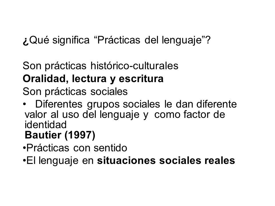 ¿Qué significa Prácticas del lenguaje? Son prácticas histórico-culturales Oralidad, lectura y escritura Son prácticas sociales Diferentes grupos socia