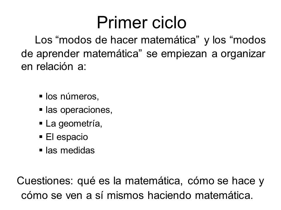 Los modos de hacer matemática y los modos de aprender matemática se empiezan a organizar en relación a: los números, las operaciones, La geometría, El