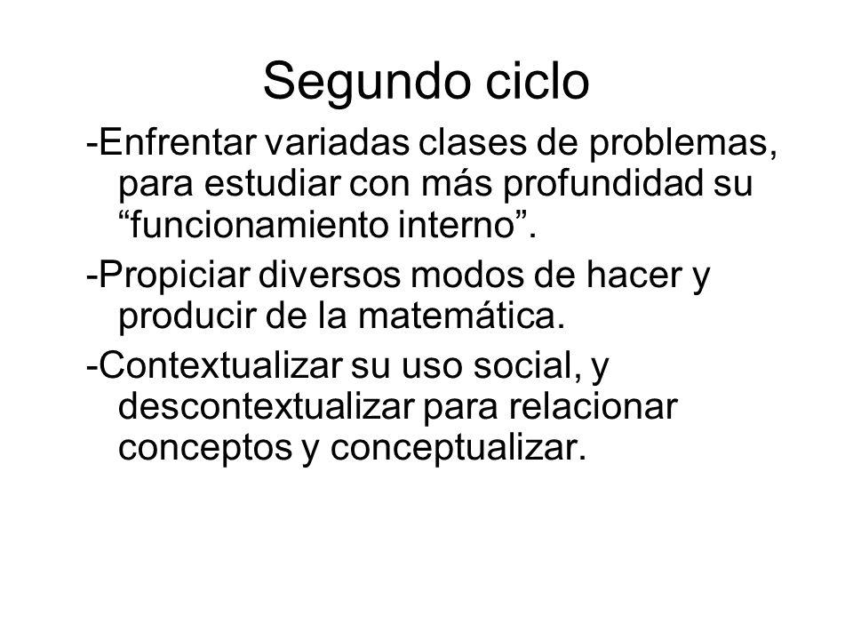Segundo ciclo -Enfrentar variadas clases de problemas, para estudiar con más profundidad su funcionamiento interno. -Propiciar diversos modos de hacer