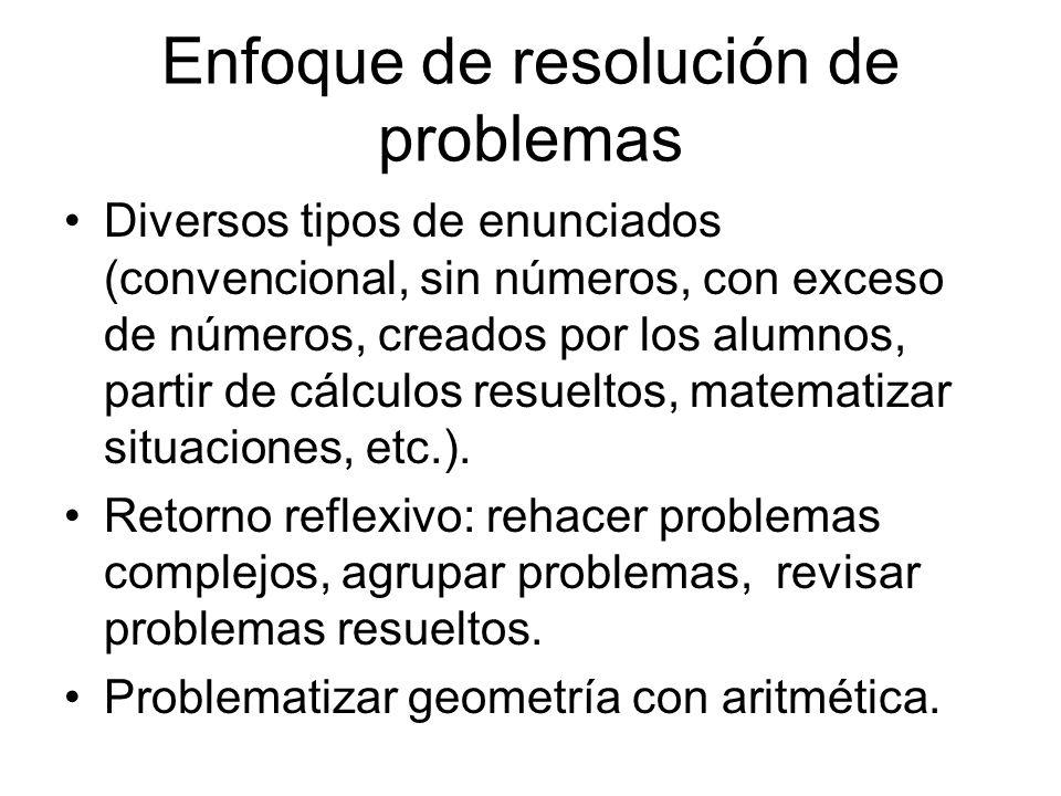 Enfoque de resolución de problemas Diversos tipos de enunciados (convencional, sin números, con exceso de números, creados por los alumnos, partir de