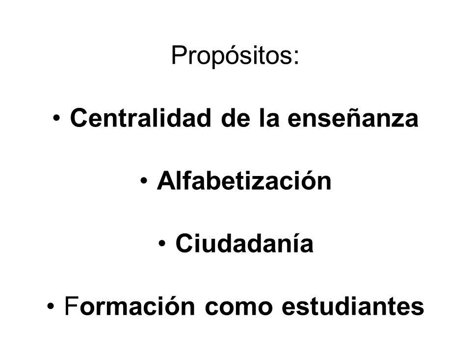 Propósitos: Centralidad de la enseñanza Alfabetización Ciudadanía Formación como estudiantes