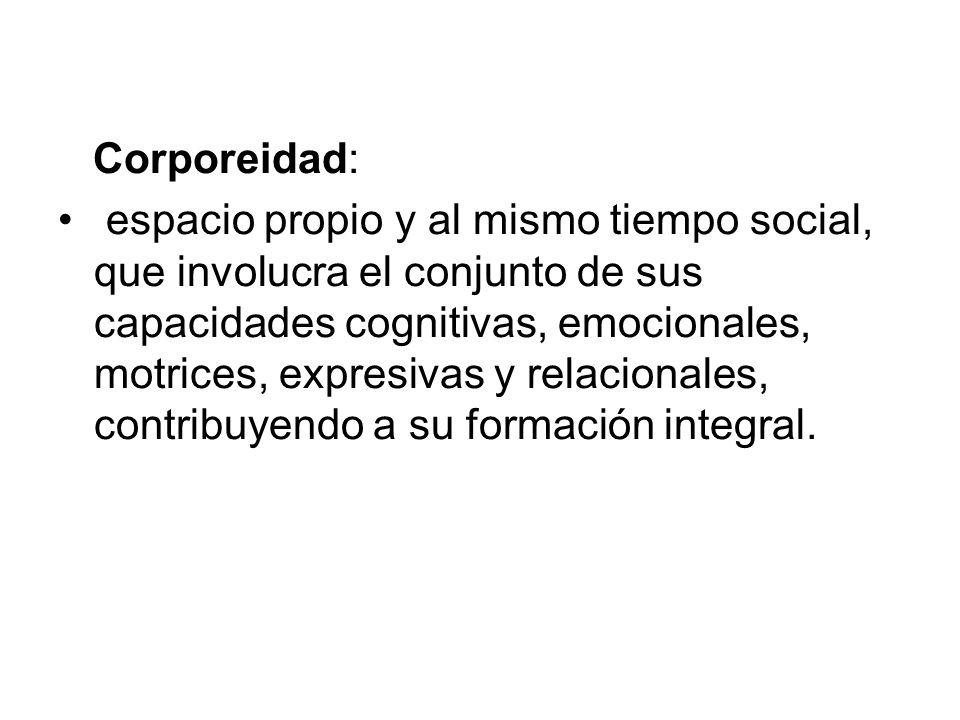 Corporeidad: espacio propio y al mismo tiempo social, que involucra el conjunto de sus capacidades cognitivas, emocionales, motrices, expresivas y rel
