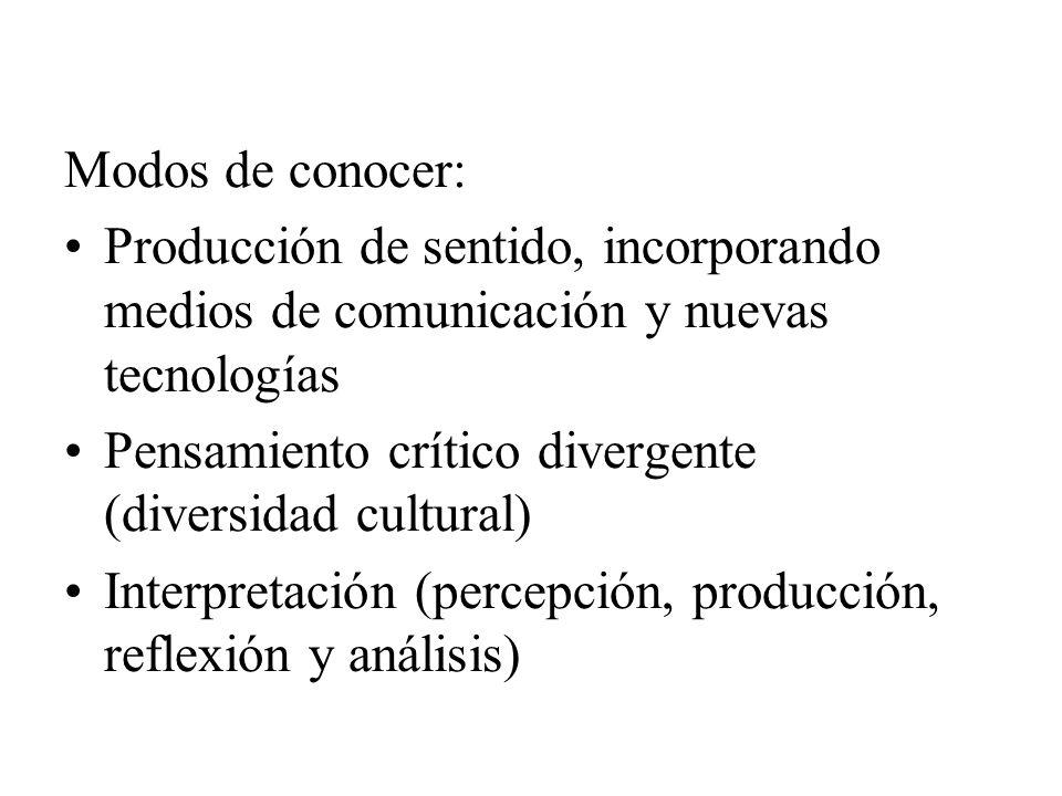 Modos de conocer: Producción de sentido, incorporando medios de comunicación y nuevas tecnologías Pensamiento crítico divergente (diversidad cultural)