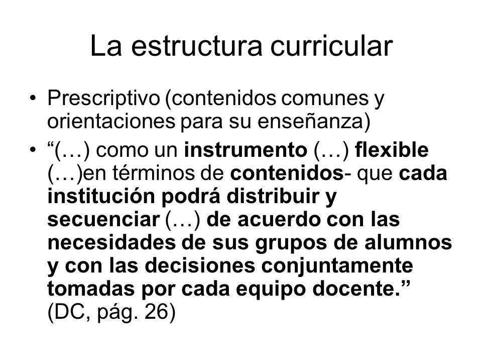 La estructura curricular Prescriptivo (contenidos comunes y orientaciones para su enseñanza) (…) como un instrumento (…) flexible (…)en términos de co