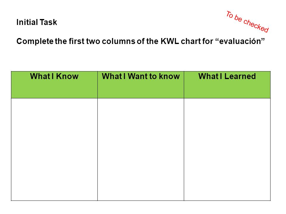 Initial Task Complete the first two columns of the KWL chart for evaluación What I KnowWhat I Want to knowWhat I Learned To be checked