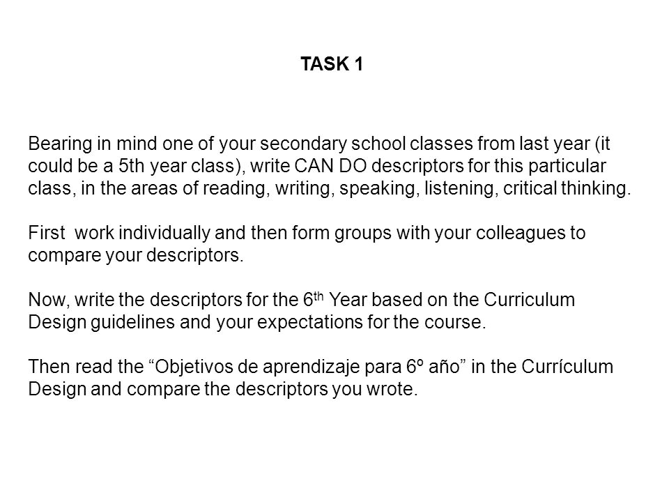 TASK 1 Bearing in mind one of your secondary school classes from last year (it could be a 5th year class), write CAN DO descriptors for this particula