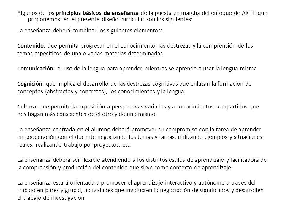 Algunos de los principios básicos de enseñanza de la puesta en marcha del enfoque de AICLE que proponemos en el presente diseño curricular son los sig