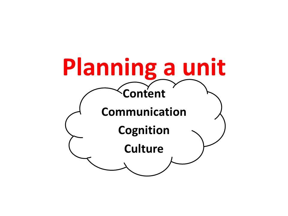 Planning a unit Content Communication Cognition Culture