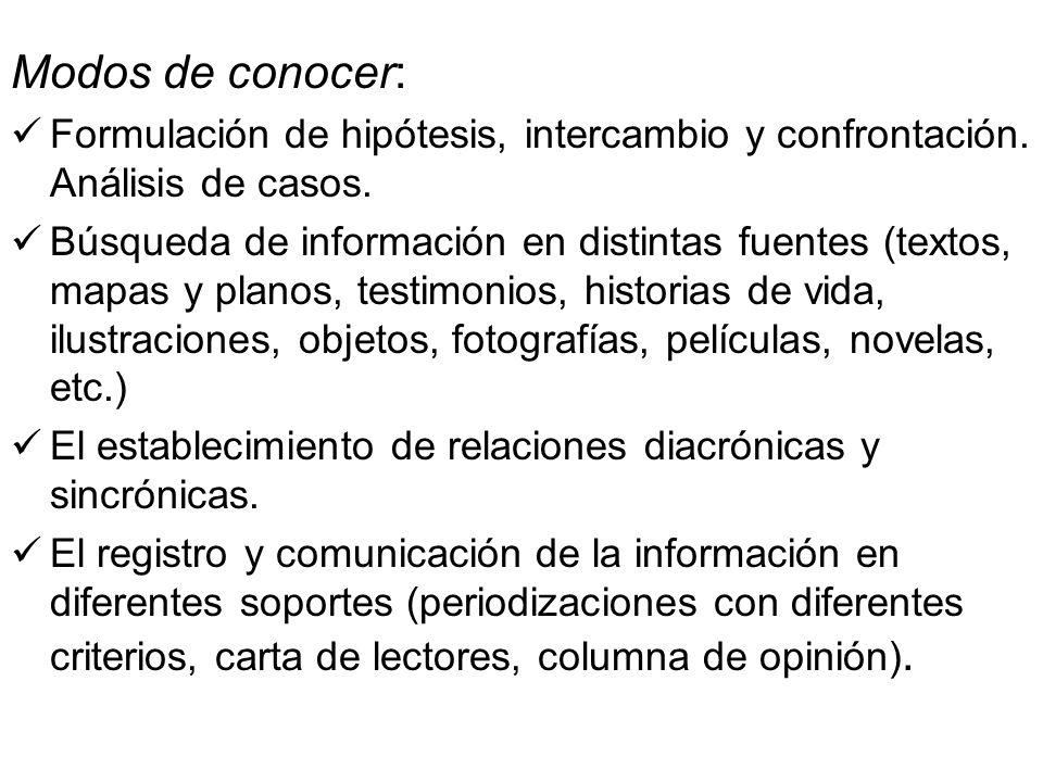Modos de conocer: Formulación de hipótesis, intercambio y confrontación. Análisis de casos. Búsqueda de información en distintas fuentes (textos, mapa