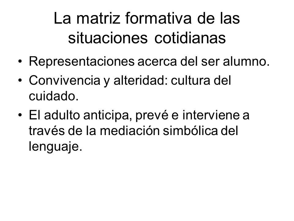 La matriz formativa de las situaciones cotidianas Representaciones acerca del ser alumno. Convivencia y alteridad: cultura del cuidado. El adulto anti