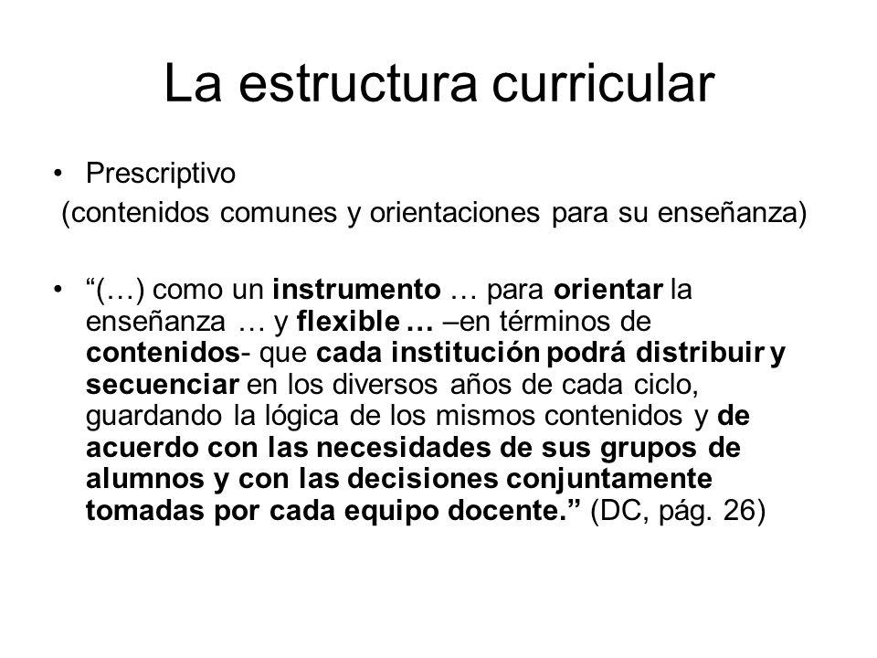 La estructura curricular Prescriptivo (contenidos comunes y orientaciones para su enseñanza) (…) como un instrumento … para orientar la enseñanza … y