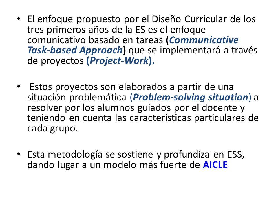 El enfoque propuesto por el Diseño Curricular de los tres primeros años de la ES es el enfoque comunicativo basado en tareas (Communicative Task-based
