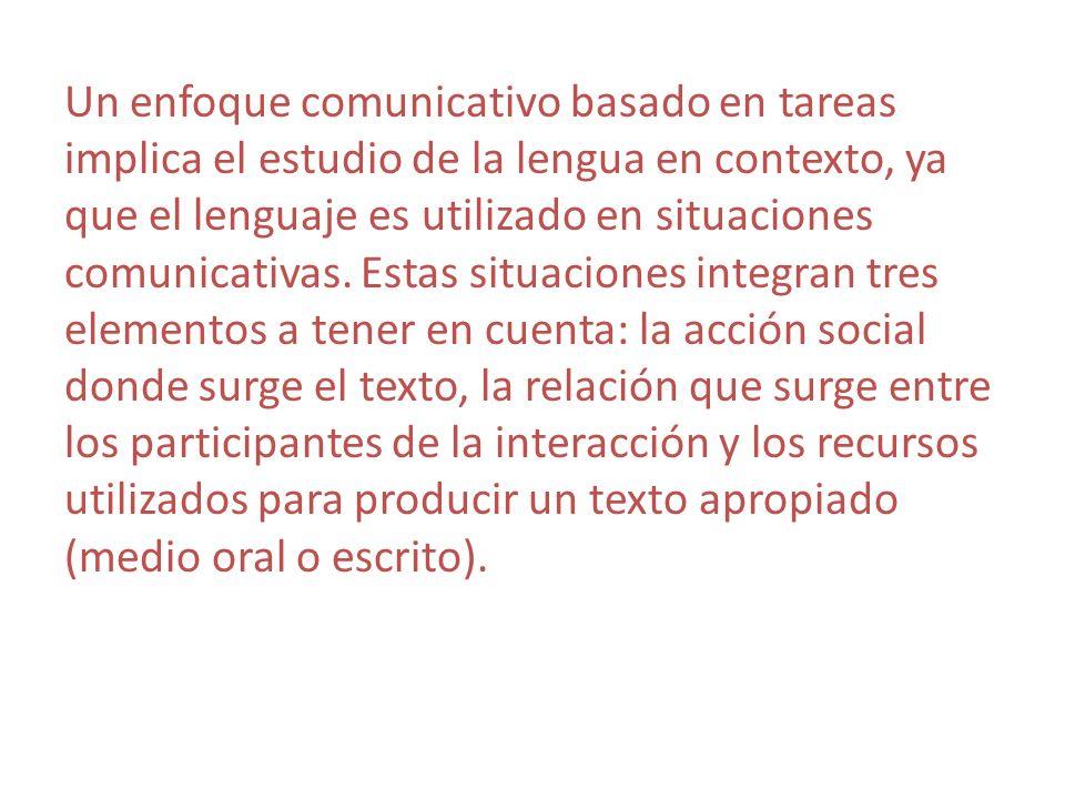 Un enfoque comunicativo basado en tareas implica el estudio de la lengua en contexto, ya que el lenguaje es utilizado en situaciones comunicativas. Es