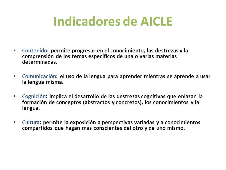Indicadores de AICLE Contenido: permite progresar en el conocimiento, las destrezas y la comprensión de los temas específicos de una o varias materias